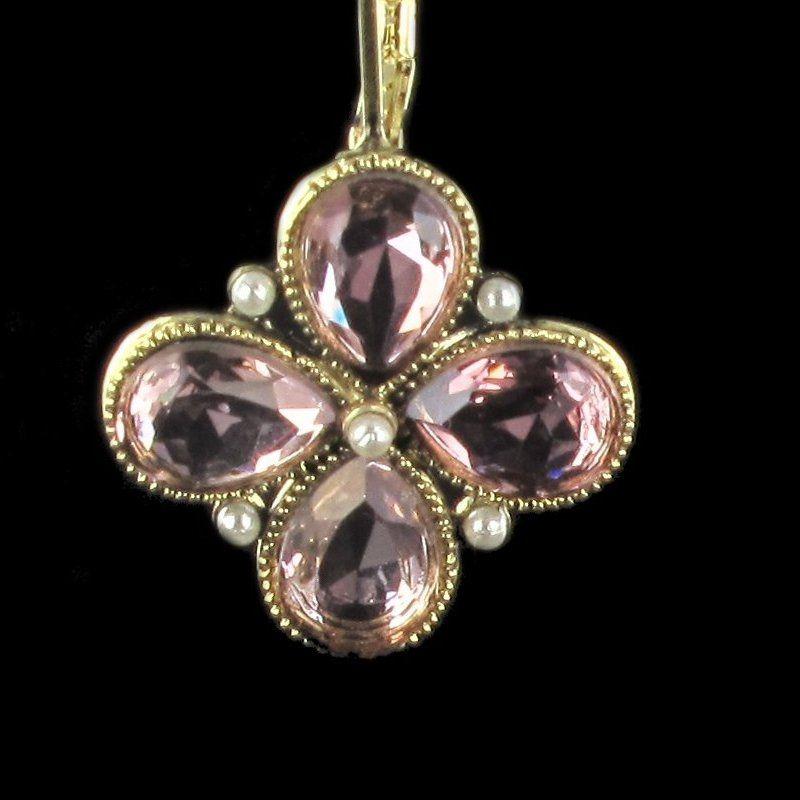 Boucles d 'oreilles fantaisie, Dormeuse fleurs Perles et Cristaux de Swarovski