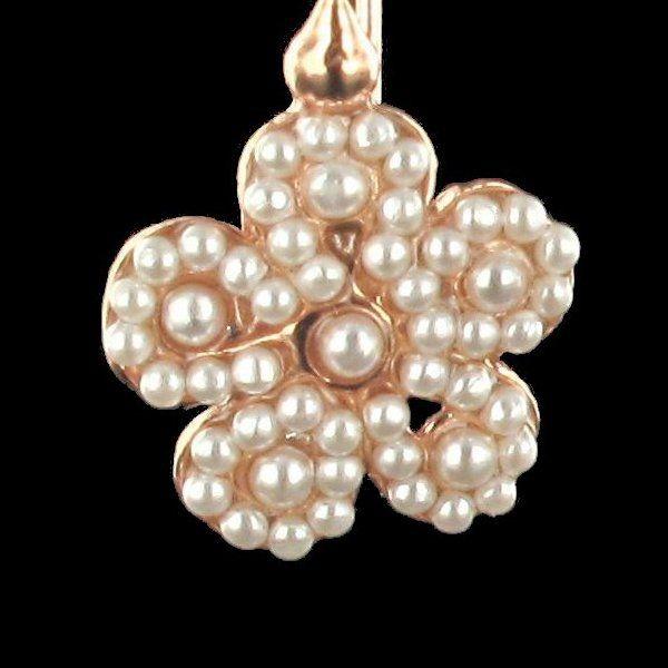 Boucles d 'oreilles fleurs perles