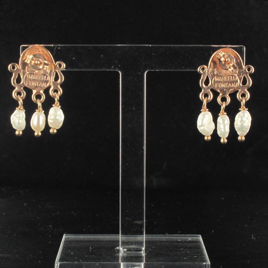Boucles d 'oreilles ovales cabochon et perles