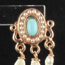 Boucles d 'oreilles ovales cabochon turquoise