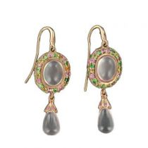 Boucles d 'oreilles pendantes quartz roses saphirs et grenats