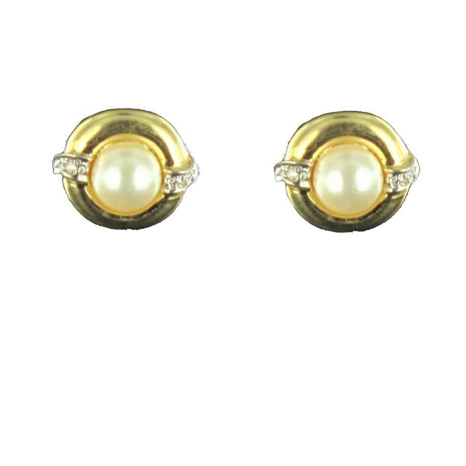 Boucles d 'oreilles perle et diamants