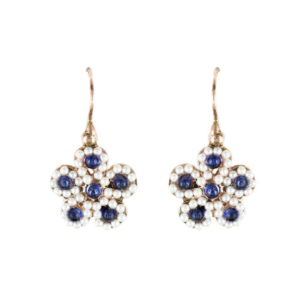Boucles d 'oreilles perles fleurs