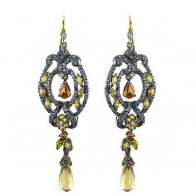 Orecchini-pendenti-Zaffiri-Diamanti-Argento-Romantico-Moderna