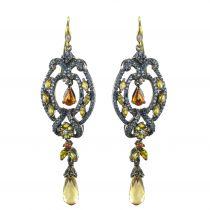 Boucles d\'oreille pendantes Saphirs et Diamants