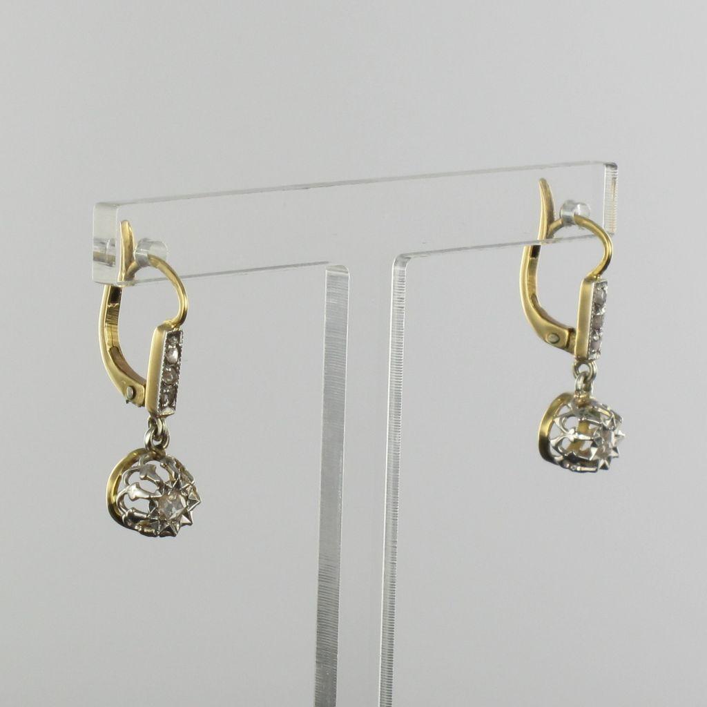 boucles d 39 oreilles dormeuses pendantes diamants anciennes. Black Bedroom Furniture Sets. Home Design Ideas
