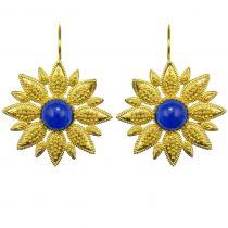 Boucles d\'oreilles fleur et cristal bleu