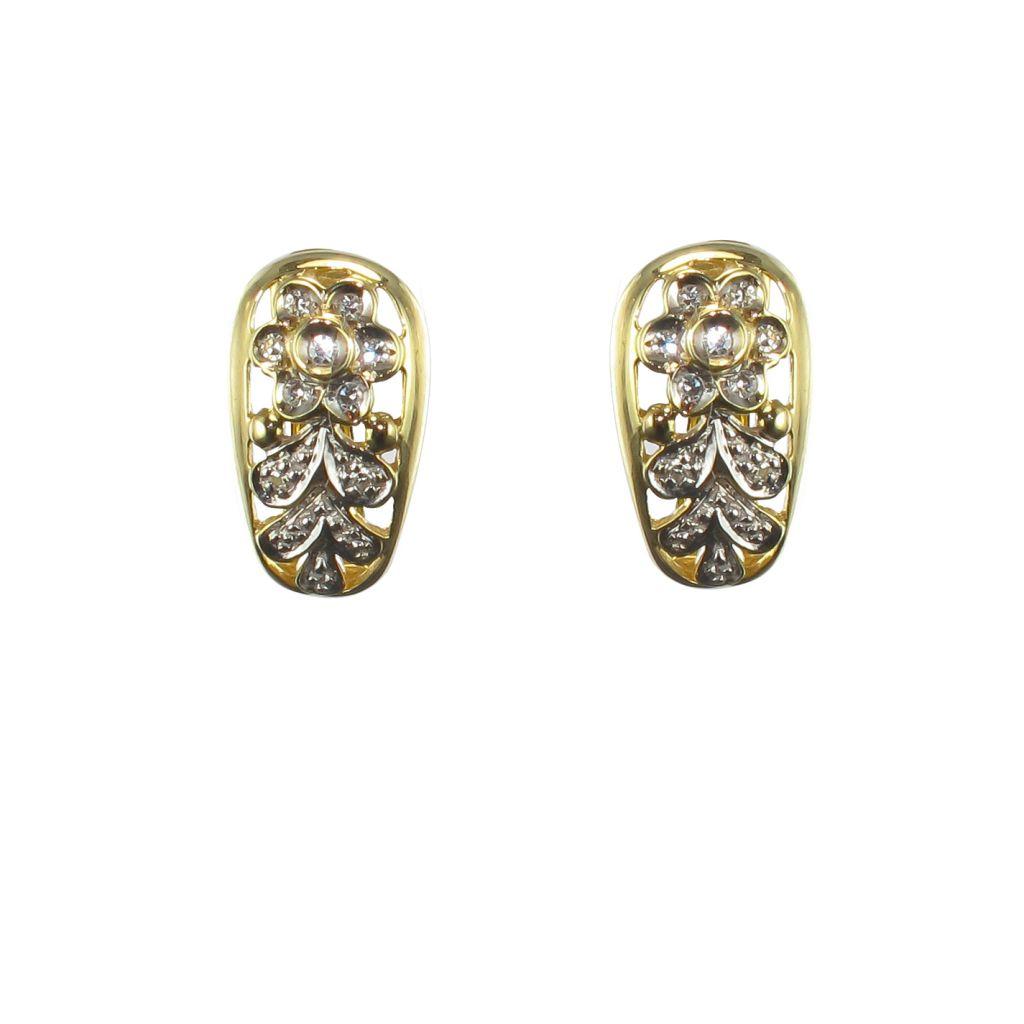 Boucles d\'Oreilles or jaune et diamants décor floral