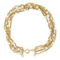 Bracelet ancien chaines d\'or et perles