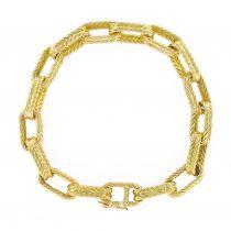 Bracelet en or jaune maille forçat ciselé