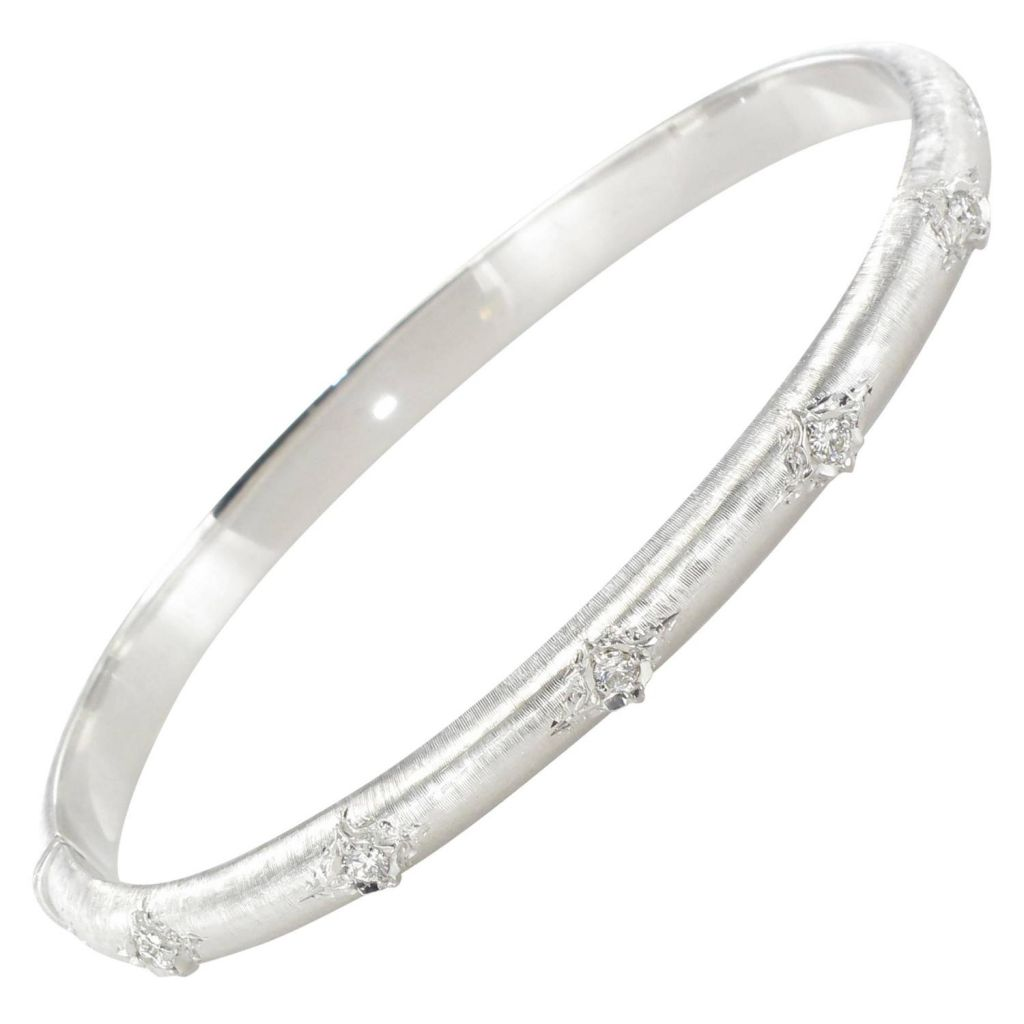 Bracelet jonc diamants or blanc satiné