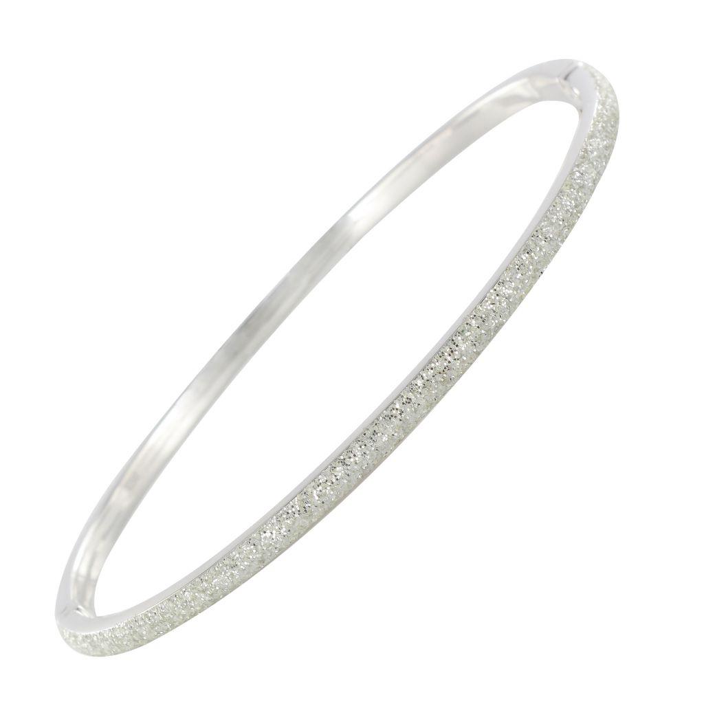 Bracelet jonc or blanc texturé