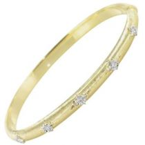 Bracelet jonc or jaune diamants satiné