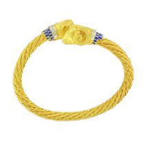 Bracelet jonc torsadé têtes de béliers