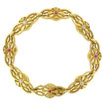 Bracelet or, diamants et rubis