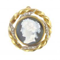Broche - Pendentif Camée et diamants