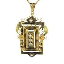 Broche - Pendentif en or, diamants et perles fines