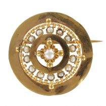 Broche ancienne de col or rose et perles fines