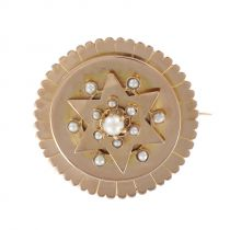 Broche ancienne en or rose et perles fines