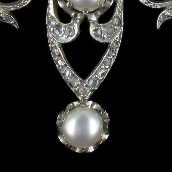 Broche ancienne Perles et Diamants