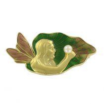 Broche en or émail et perle