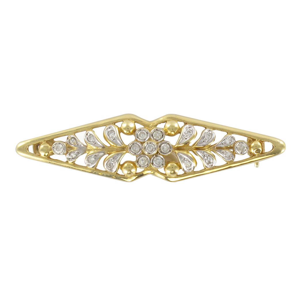 Broche en or jaune diamants motif floral