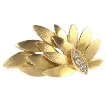 Broche Feuille Diamants