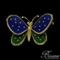 Broche papillon �mail et or