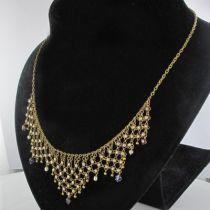 Collier ancien draperie or saphirs rubis et perles