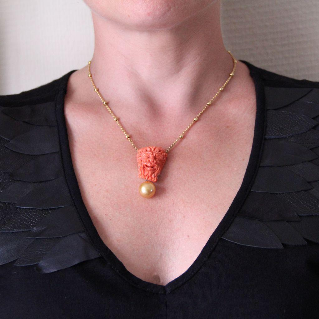 Collier camée corail, perle gold et perles d\'or