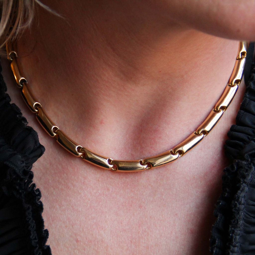 Collier or maille massive