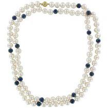 Collier Perles et Perles d 'Azurite