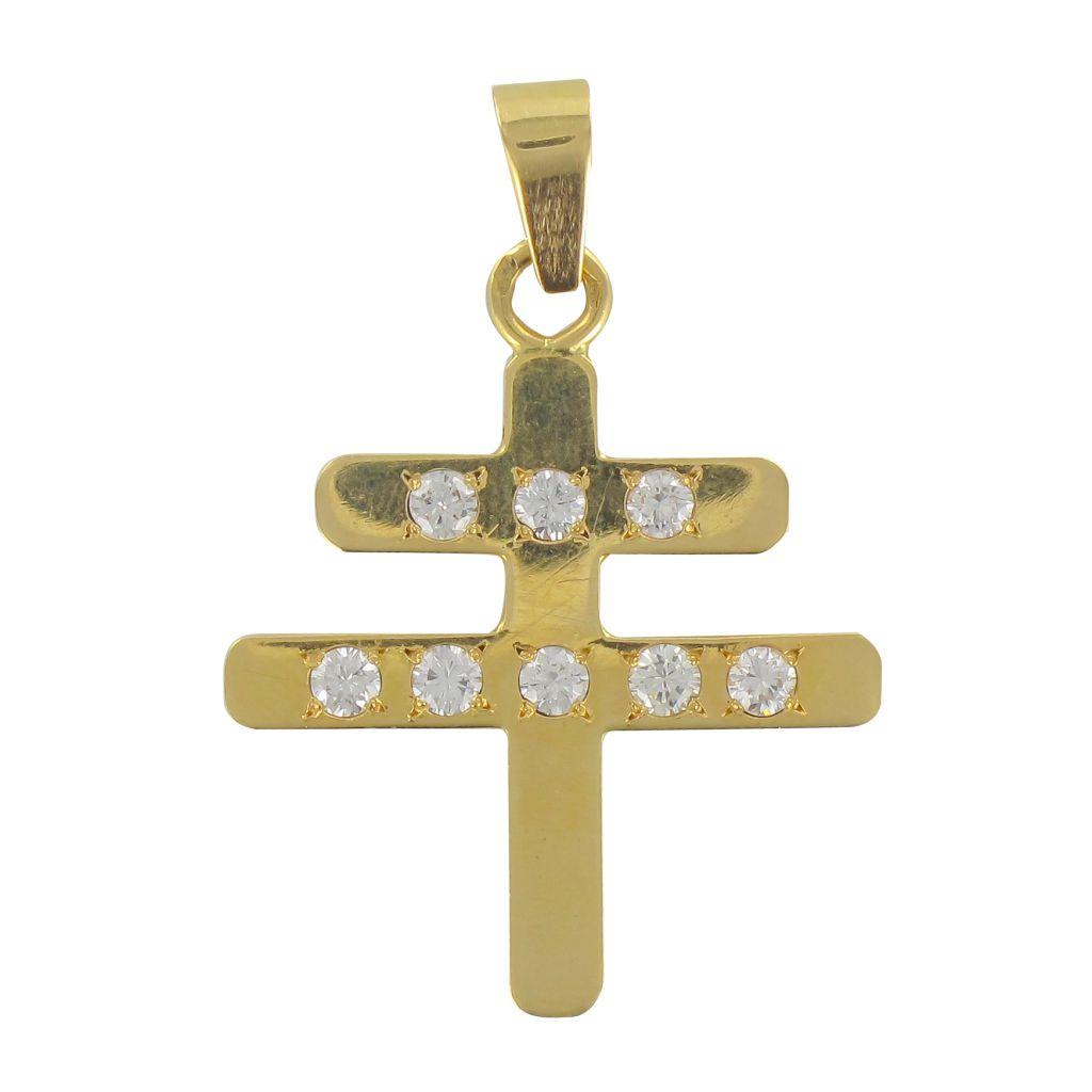 Croix de Lorraine diamants or jaune