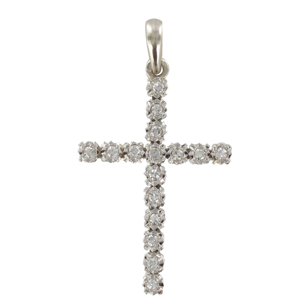 Croix Diamants Or blanc