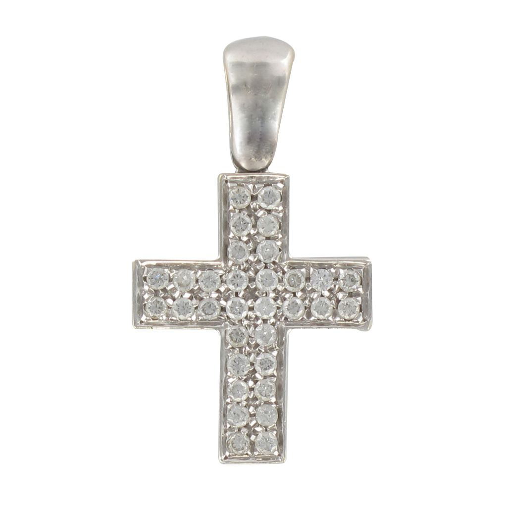 Croix or blanc diamants