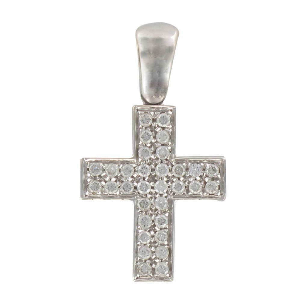 Croix or blanc diamants