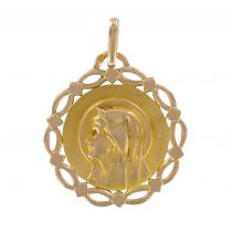 Médaille vierge en or ajouré