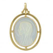 Médaille vierge nacre et or