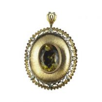 M�daillon - Broche Citrine ancien