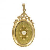 Médaillon vintage or jaune et perle