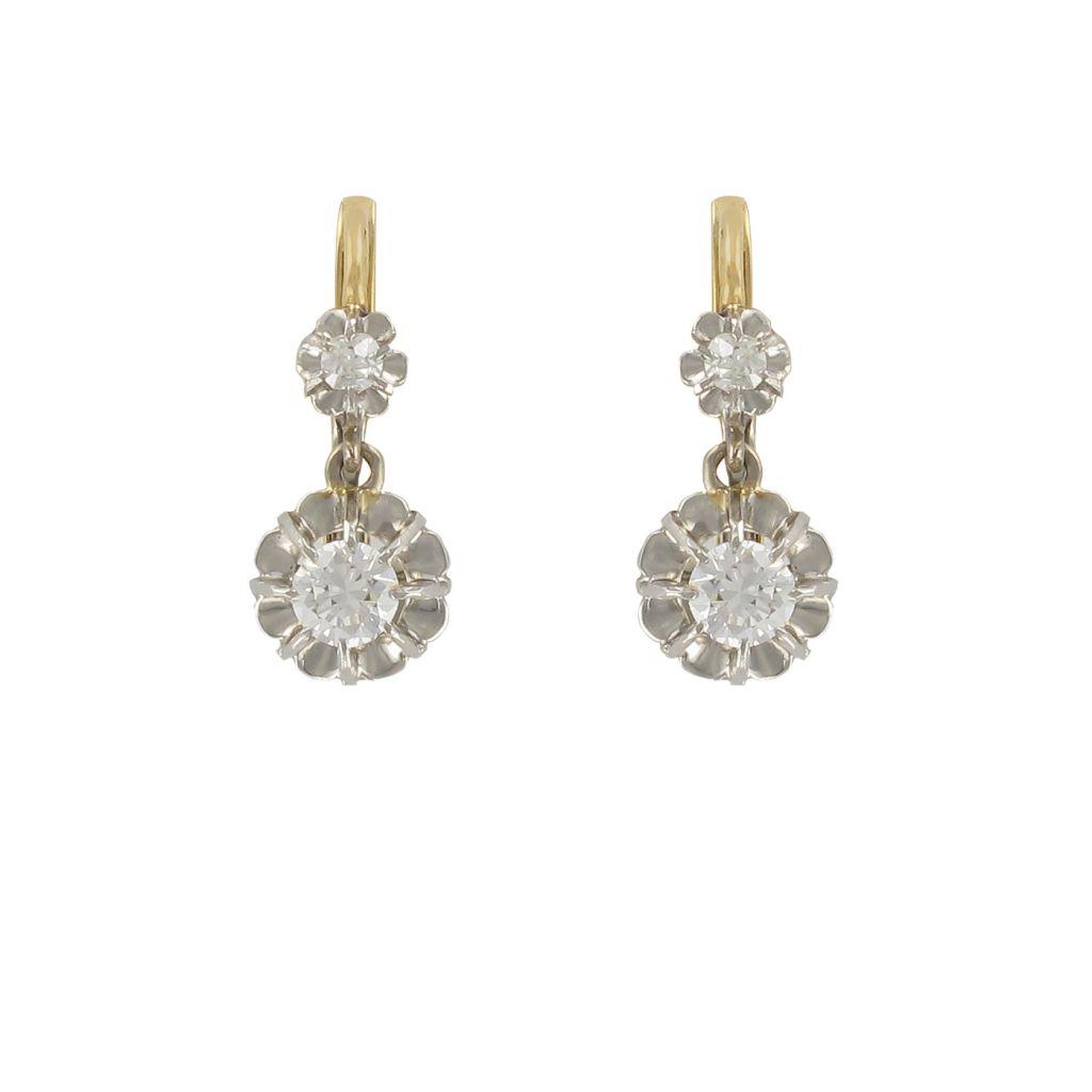 Paire de boucles d 39 oreilles dormeuses or jaune et diamants bijouxbaume - Poussette de boucle d oreille ...