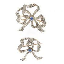 Paire de broches anciennes saphirs et diamants