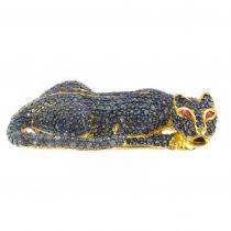 Pendentif - Broche Panthère en saphirs