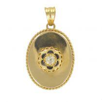 Pendentif ancien diamant et émail noir
