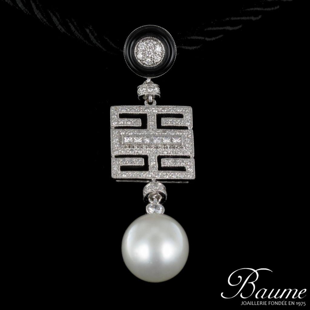 Pendentif Perle, Onyx et Diamants
