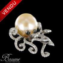 Pendentif Perle et Diamants Pieuvre
