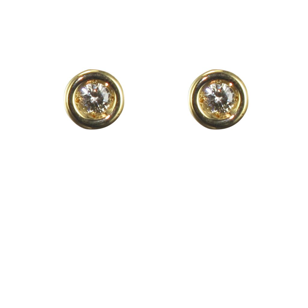 Puces d\'oreilles or jaune et diamants