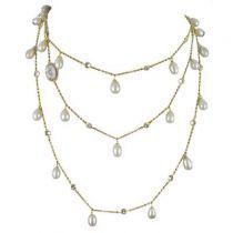 Sautoir argent et or perles de culture cristaux et camée