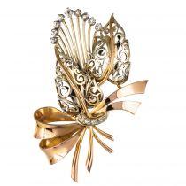 Broche vintage bouquet or et diamants