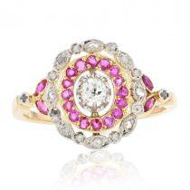 Bague ancienne diamants rubis